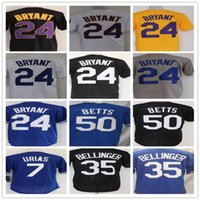 2021 Nouveau 8 Bryant 24 Ko Noir 7 Julio Urias Jersey Mamba 35 Cody Bellinger 50 Mookie Betts Jersey de baseball cousu