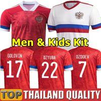 2021 Jerseys de football d'équipe nationale 21 22 Russie Accueil Dzyuba Golovin Akhmetov Football Shirt Set Hommes Kids Kit Uniformes