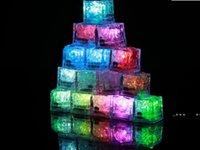 Светодиодные кубики льда бар Flash Auto Shange Crystal Cube, активированный водой, активирован для воды 7 цвет для романтической вечеринки свадьба Xmas подарок FWD10242