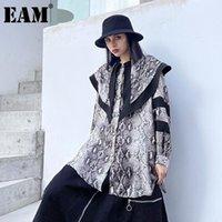 Женские блузки Рубашки [EAM] Женщины большой размер длинные змеиный образец блузки отворотный рукав свободная подходит рубашка мода прилив весна осень 2021 1d5218