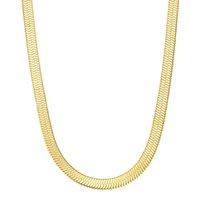 Women jewelry 925 sterling sier 14k gold plated vermeil flat snake chain herringbone necklace