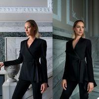 Smart Black Women Suits Slim Fit Office Lady Party Prom Tuxedos Blazer Red Carpet Leisure Outfit Suit (Jacket+Pants)