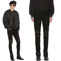 Hot Top Quality Classic Knee Zipper Jeans Slp Miri Slim Motorcycle Denim Pants Fashion Designer Hip Hop Mens Jeans Hq18