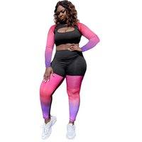 Trajes deportivos para mujeres Color de gradiente Color Casual Bust Hollow Patchwork Tops de cosecha de secado rápido Adelgazar Fitness Legging Yoga Equipo inconsútil.