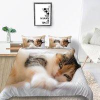 Bedding Sets King Size Set Cat Cute Creative 3D Soft Elegant Pet Duvet Cover Queen Twin Full Single Double Unique Design Bed