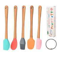 Cuocere strumenti di pasticceria Mini Spatula Silicone Scraper Bastone Brush Spoon per cucinare Miscelazione Animato Animato Pentole Stoviglie Utensili da cucina BPA GRATIS XBJK2103