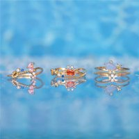 Wedding Rings Cute Ocean Animal For Women Girls Zircon Crystal Crab Dolphin Ring Aesthetic Engagement Vintage Jewelry Gift