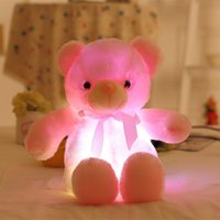 size 30cm luminous doll plush toy teddy bear Bow tie with built-in led colorful light function for Valentine's day and kid gifts