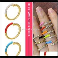 Hecheng colorido neón al por mayor cz arco iris para las mujeres accessries ajustado dedo abierto VJ24 1F9cc Anillos de boda 06UQI