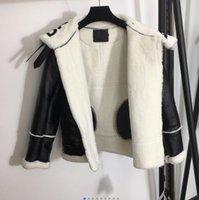 Costura de pele de cordeiro costura pu couro e casaco de pele para baixo, além de veludo para manter quente 822