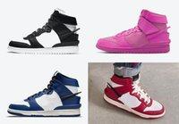 2021 أصيلة كمين كومن دونك أحذية عالية أسود أبيض شيكاغو عميق الملكي الأزرق الكونية الفوشيه نشط الفوشيه / الفتاكة الوردي الرجال النساء الرياضة أحذية رياضية مع صندوق