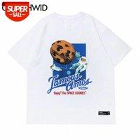 Camisetas Harajuku Galletas Espaciales Astronauta Manga corta Tshirts Streetwear Hip Hop Casual Flojo Tees Tops de algodón de moda # NP92