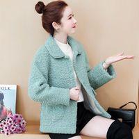 Women's Wool & Blends Elegant Women Faux Fur Coat 2021 Autumn Winter Soft Warm Lapel Button Pink Jacket Female Plush Pocket Casual Short Ted