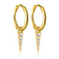 Stud Earrings Diamond Sterling Silver tassel triangular geometric gold silver earrings Crystal earring for lady gold silver plated women jewelry New styles