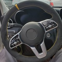 Car Steering Wheel Cover DIY Non-slip Black Genuine Leather Suede For Mercedes Benz A Class 2019-2020 GLC GLB 2020 CLS 2018-2020