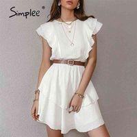 Simplee Beyaz Pamuk Kadın Chic Elbiseler Moda Katı Ruffled Orta Uzunlukta Yüksek Bel Vestidos Kolsuz Yaz Kadın Elbise 210323