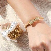Top Design Mode Cubic Zirkonia Bogen Offene Manschette Weihnachtsgeschenk Damen Armband Armreif