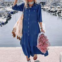 Günlük Elbiseler Sonbahar Uzun Elbise Kol Gömlek Kadın Denim Cep Düğmesi Baskı Gevşek 2021