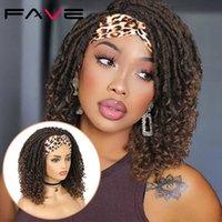 Fave Dreadlock Trançado Headband Wigs Sintética Deusa Faux Nu Locs Curly Wig Freetress Twist Crochet Cabelo Para Mulheres Brancas Pretas