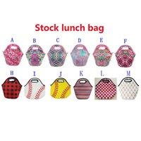 Neoprene Lunch Bag Baseball Printing Waterproof Food Beverage Bento Box Tote Bags Picnic Lunch 12 Style