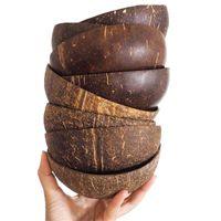 Tigelas de coco natural conjunto ambiental de madeira utensílios de mesa cozinha criativo salada de frutas macarrão arroz dessert sopa