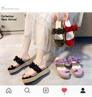 Summer new style flower women's flip flops Korean version Flat bottom non-slip women's slippers casual sandals
