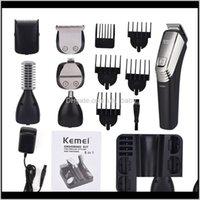 Kemei 6 in 1 Şarj Edilebilir Saç Kesme Erkekler Tıraş Makinesi Sakal Giyotin Burun Kaş Tıraş Makinesi Elektrikli Jilet erkek Bakım Kiti 5900 S U691E