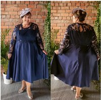 Plus Size Mother of the Bride Dresses Dark Navy Blue Sequined Lace Long Sleeve A Line Tea Length Short Wedding Party Formal Evening Prom Gowns Vintage