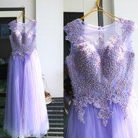 Real Photos Lavender Bridesmaid Dresses A-Line Lace Appliques Beaded Wedding Party Dress