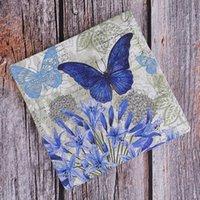 Handkerchiefs 20 Purple Flower Blue Butterfly Handkerchief Decoupage Vintage Napkin Paper Tissue Wedding Birthday Party X-mas Serviettes Decor