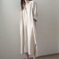 캐주얼 드레스 한국 디자인 Preppy 스타일 패션 셔츠 코튼 린넨 가을 봄 여름 느슨한 게으른 세련된 여성 미디 FCBZ