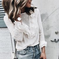 Women Long Sleeve Blouse Ruffle Party Lace Frill Office Work Shirt Womens Top Women's Blouses & Shirts