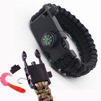 Link, Chain Outdoor Survival Multi-Function Men Bracelets For Women Braided Paracord Camping Rescue Fishhook Rope Compass Whistle Emergency