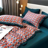 Bedding Sets Ly Designed Set Long Staple Cotton Fashion Printing Duvet Cover Satin Light Luxury Sheet Pillowcase King Queen 4 PCS