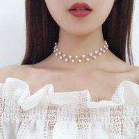 Barocke Perlen Link Kette Choker Halskette für Frauen Mädchen Braut Hochzeit Gold / Silber Farbe Chocker Collier Femme Forseven Chokers
