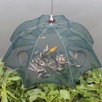Accessori per pesca Pesce Trappola NET Nylon Pieghevole Pieghevole Attrezzature di granchio indossare gamberetti gabbia Minnow Perline luminose