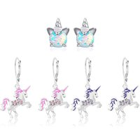 Magical Unicorn Ear Cuff Rainbow Unicorns Acrylic Hook Earring Handmade Epoxy Jewelry Earrings