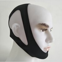 Black Neopren-Schnarchen-Einstellung Kopfbedeckung Anti-Schnore-Kinn-Strap Haltestelle Schnarerstützgürtel Anti-Apnoe-Backen-Lösung Schlafgerät DHL-frei