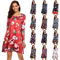 Womens Dresses S-5XL Plus Size Christmas Dress Women Long Sleeve O-Neck Print Winter Party Fashion Midi Cartoon Femme Vestidos