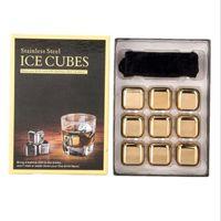 Bar Kit de bebida Oro Whisky Acero inoxidable Cubo de hielo Enfriador de vino Metal Rocas congeladas rápidas con pinzas y bandeja de almacenamiento