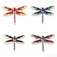 Dragonfly Brooch Luxury designer Brooches Rhinestone Crystal Pins Gold Alloy Enamel Pin Vintage Fashion Women Wedding Garments Clothes Pins