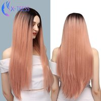 Synthetic Wigs Highlight Pink Long Straight Wig Lolita 28inch For Women Cosplay Heat Resistant Fiber X-TRESS
