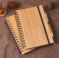 Capa de bambu de madeira de notebook de jornal com caneta estudante Ambiental blocos de notas por atacado material escolar EWA6434