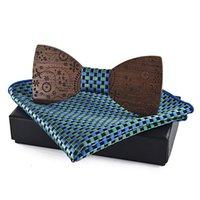 Conjunto de pañuelo de pañuelo de pajarita de madera hecha a mano para hombres Bowtie Hombre Hollow Tallado Cuello de cuello Mujeres Cravat Bufanda Corbatas