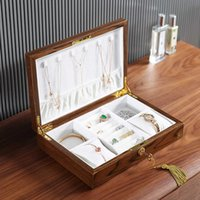 Casegrace Luxury Large Wood Jewelry Box Wooden Velvet Necklace Ring Earring Watch Organizer Jewellery Storage Case Casket 211013