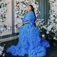 Wraps & Jackets Blue Illusion Maternity Tulle Po Shoot Dress Pregnant Woman Long Sleeve Tiered Ruffles Slepwear Bridal Party Birthday Gowns1