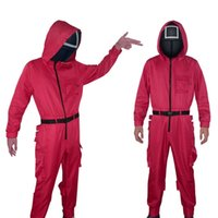 Squid Game hoodies Jumpsuits Loose Men Women Casual Solid O Neck With Pocket Jumpsuit Romper Round Six Halloween Cosplay Costumes