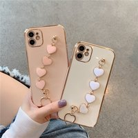 Plating Love heart chain Wrist Bracelet Phone cases for iphone 11 12 Pro Max MiNi X XS XR 7 8 Plus SE Soft TPU Protective Cover