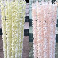 Meter Long Elegant Handing Orchid Silk Flower Vine White Wisteria Garland Ornament For Festival Wedding Garden Decoration Decorative Flowers
