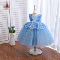 Girl's Dresses Baby Girls Kids Clothes Child Lace Princess Summer 1st Birthday Dress Flower Bowknot Pettiskirt Party Formal Tutu Infant Wear B5452
